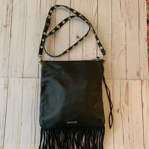 Rebecca Minkoff black cross body fringe purse